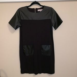 LOFT Little Black Dress with leather accents